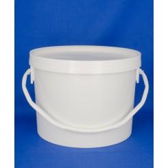 1550 ml. Plastbøtte PP Natur FS f. 148mm. låg