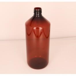 1000 ml. Plastflaske PET brun f. 28 mm. Ropp