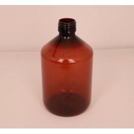 50 ml. Plastflaske PET brun f. 28 mm. Ropp