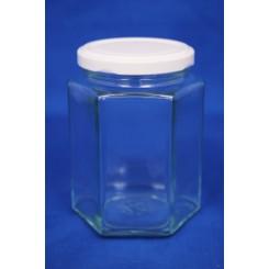 Konservesglas 6-kantet klar 370 ml.